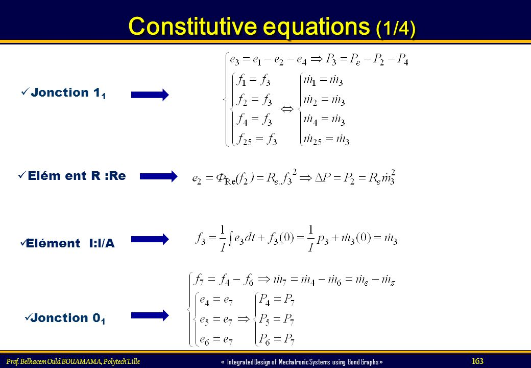 163 « Integrated Design of Mechatronic Systems using Bond Graphs » Constitutive equations (1/4) Constitutive equations (1/4) Prof. Belkacem Ould BOUAM
