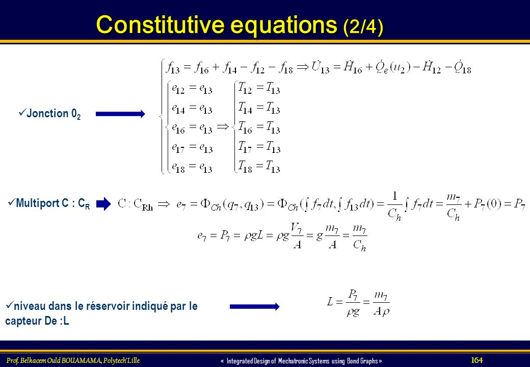 164 « Integrated Design of Mechatronic Systems using Bond Graphs » Constitutive equations (2/4) Prof. Belkacem Ould BOUAMAMA, PolytechLille Jonction 0