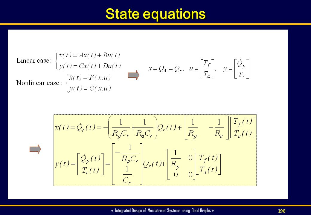 190 « Integrated Design of Mechatronic Systems using Bond Graphs.» State equations