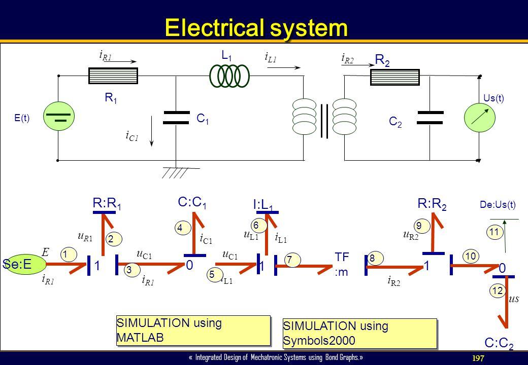 197 « Integrated Design of Mechatronic Systems using Bond Graphs.» Electrical system 1 R:R 1 uR1uR1 Se:E E i R1 i C1 0 C:C 1 u C1 i R1 u L1 1 I:L 1 i