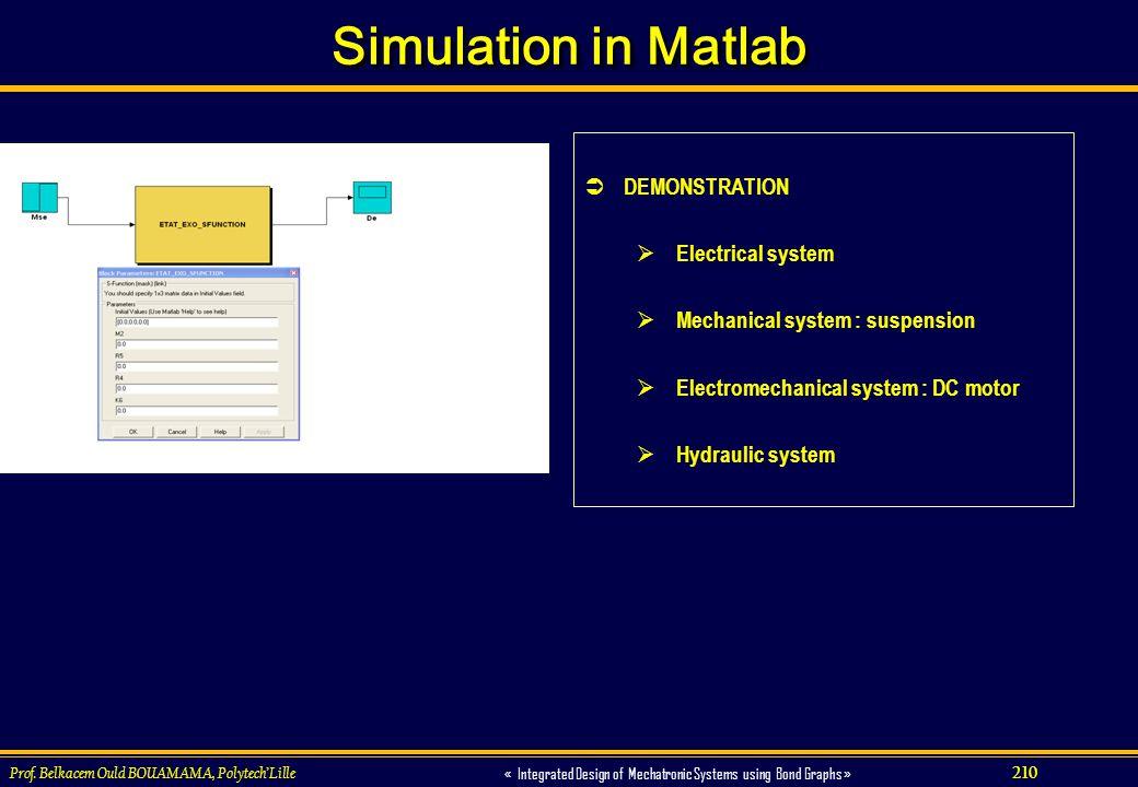 210 « Integrated Design of Mechatronic Systems using Bond Graphs » Prof. Belkacem Ould BOUAMAMA, PolytechLille Simulation in Matlab DEMONSTRATION Elec
