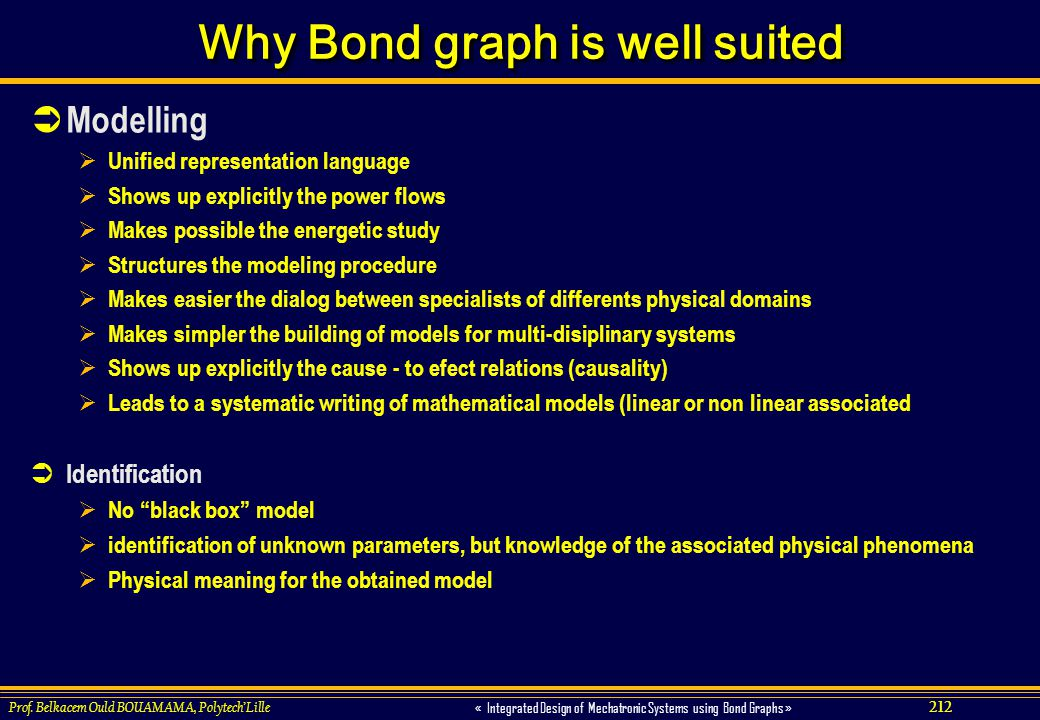 212 « Integrated Design of Mechatronic Systems using Bond Graphs » Prof. Belkacem Ould BOUAMAMA, PolytechLille Why Bond graph is well suited Modelling