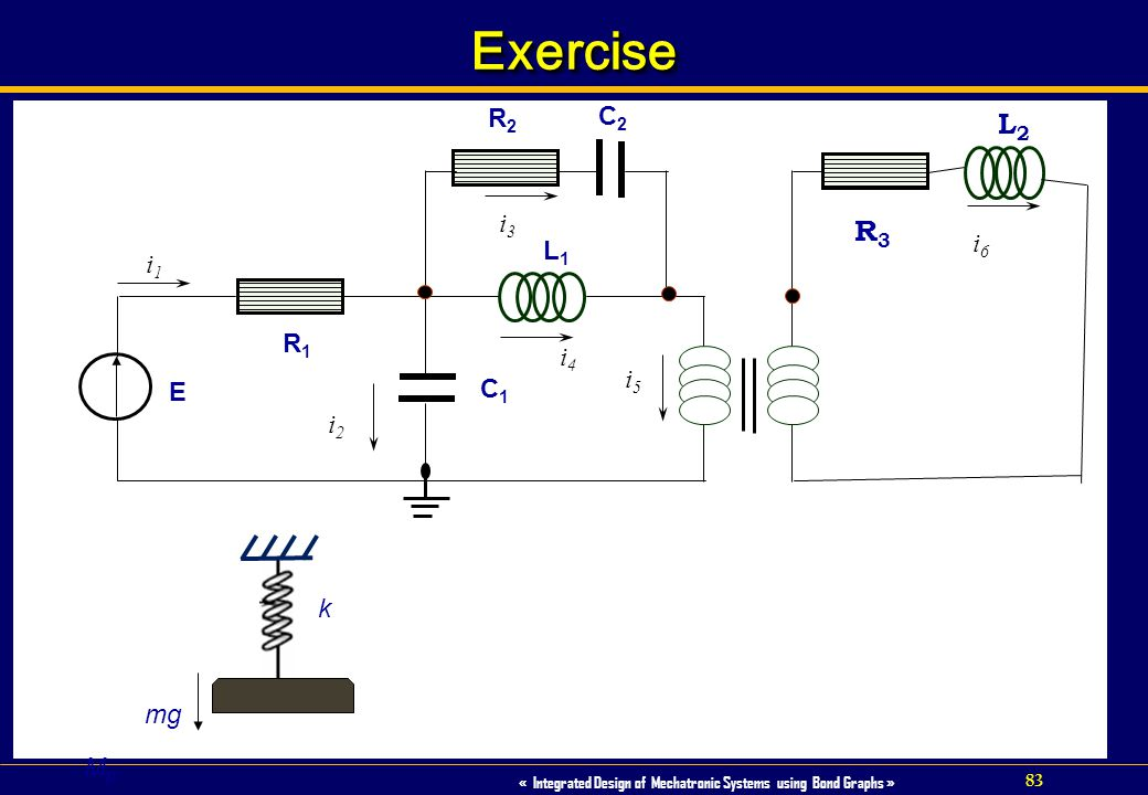 83 « Integrated Design of Mechatronic Systems using Bond Graphs » ExerciseExercise L1L1 E C1C1 R1R1 i1i1 i2i2 i4i4 R3R3 L2L2 i3i3 i6i6 R2R2 C2C2 k mg