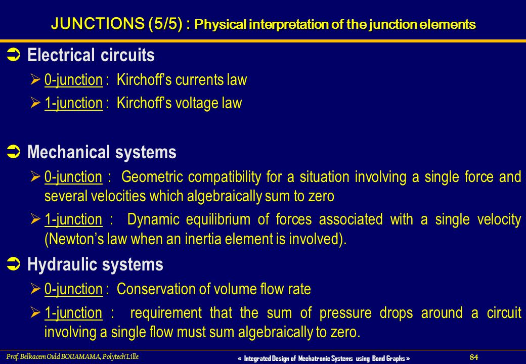 84 « Integrated Design of Mechatronic Systems using Bond Graphs » Prof. Belkacem Ould BOUAMAMA, PolytechLille : JUNCTIONS (5/5) : Physical interpretat