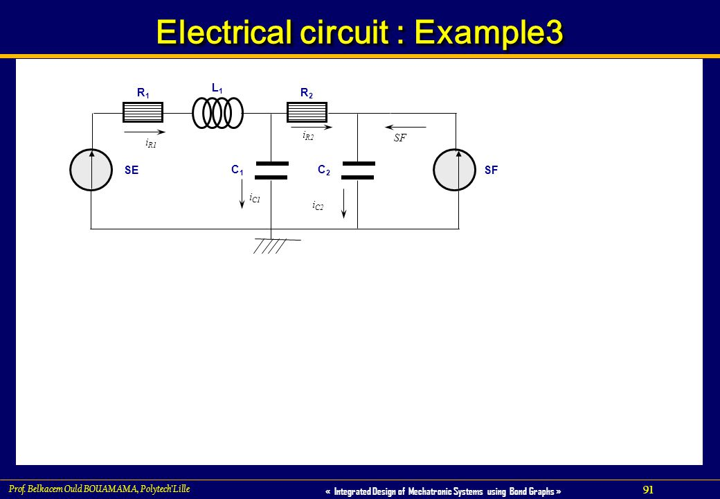 91 « Integrated Design of Mechatronic Systems using Bond Graphs » Prof. Belkacem Ould BOUAMAMA, PolytechLille Electrical circuit : Example3 L1L1 SE C1