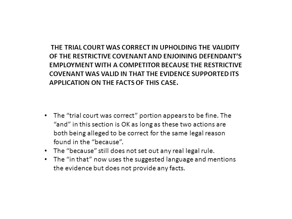 The trial court correct portion again appears OK The because section appears to contain three legal rules.