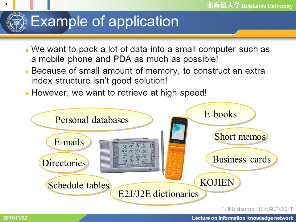 Hokkaido University 5 Lecture on Information knowledge network 2011/11/22 Example of application E-mails Directories Schedule tables E2J/J2E dictionaries Business cards Short memos E-books KOJIEN Personal databases We want to pack a lot of data into a small computer such as a mobile phone and PDA as much as possible.