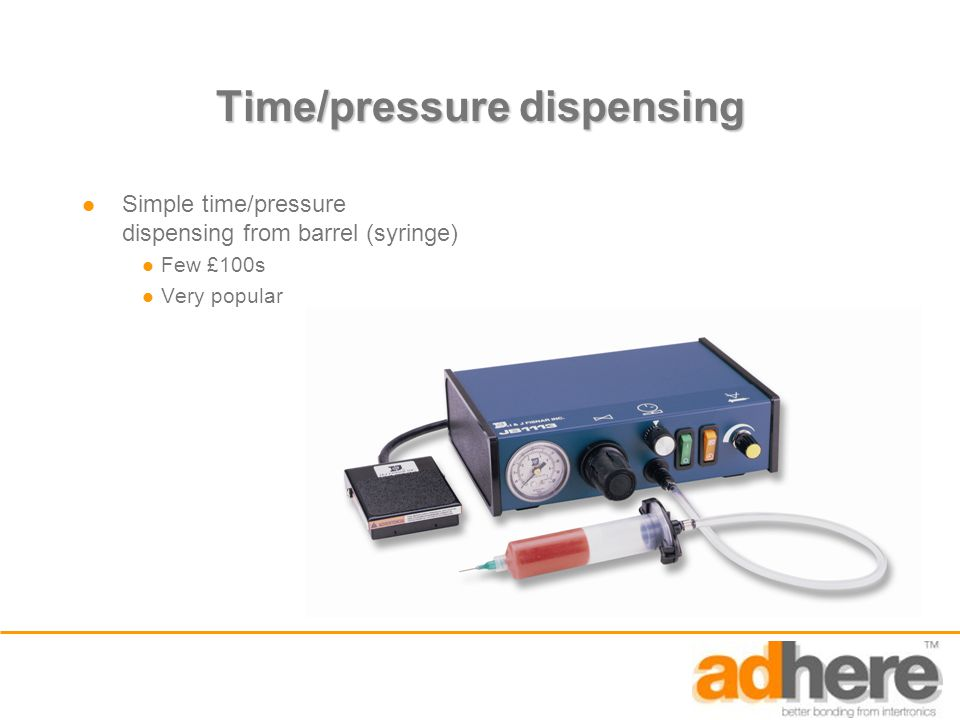 Time/pressure dispensing Simple time/pressure dispensing from barrel (syringe) Few £100s Very popular