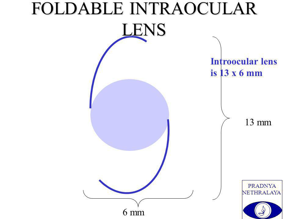 PRADNYA NETHRALAYA 13 mm 6 mm FOLDABLE INTRAOCULAR LENS Introocular lens is 13 x 6 mm