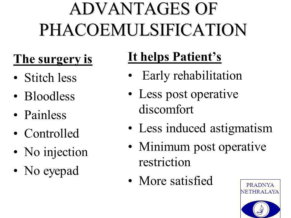 PRADNYA NETHRALAYA ADVANTAGES OF PHACOEMULSIFICATION The surgery is Stitch less Bloodless Painless Controlled No injection No eyepad It helps Patients Early rehabilitation Less post operative discomfort Less induced astigmatism Minimum post operative restriction More satisfied