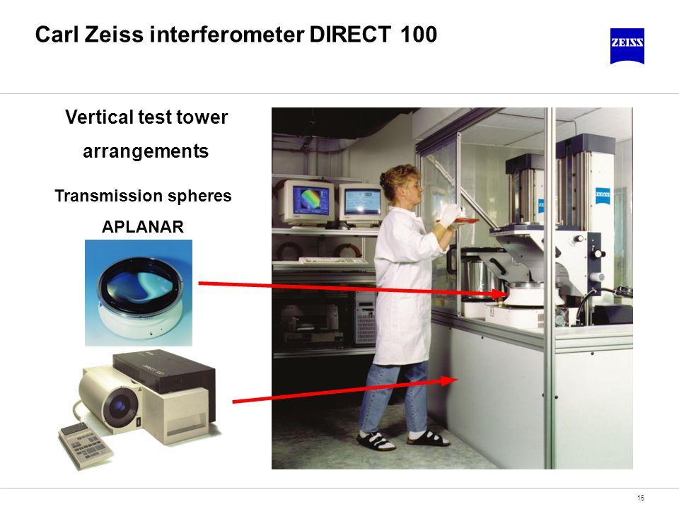 16 Carl Zeiss interferometer DIRECT 100 Vertical test tower arrangements Transmission spheres APLANAR