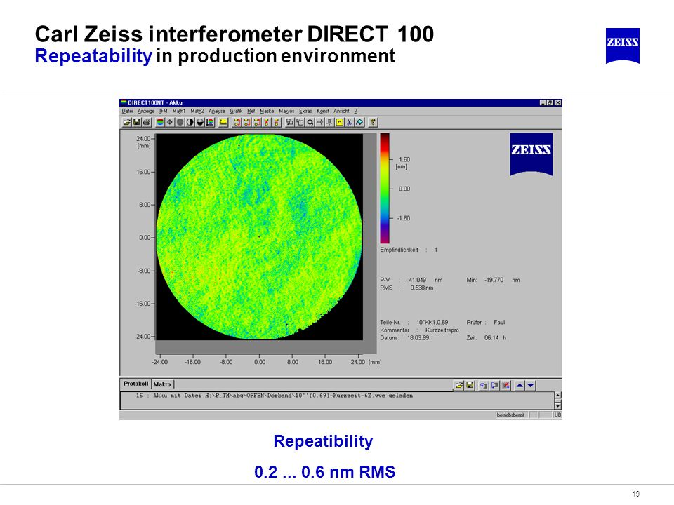 19 Carl Zeiss interferometer DIRECT 100 Repeatability in production environment Repeatibility 0.2...