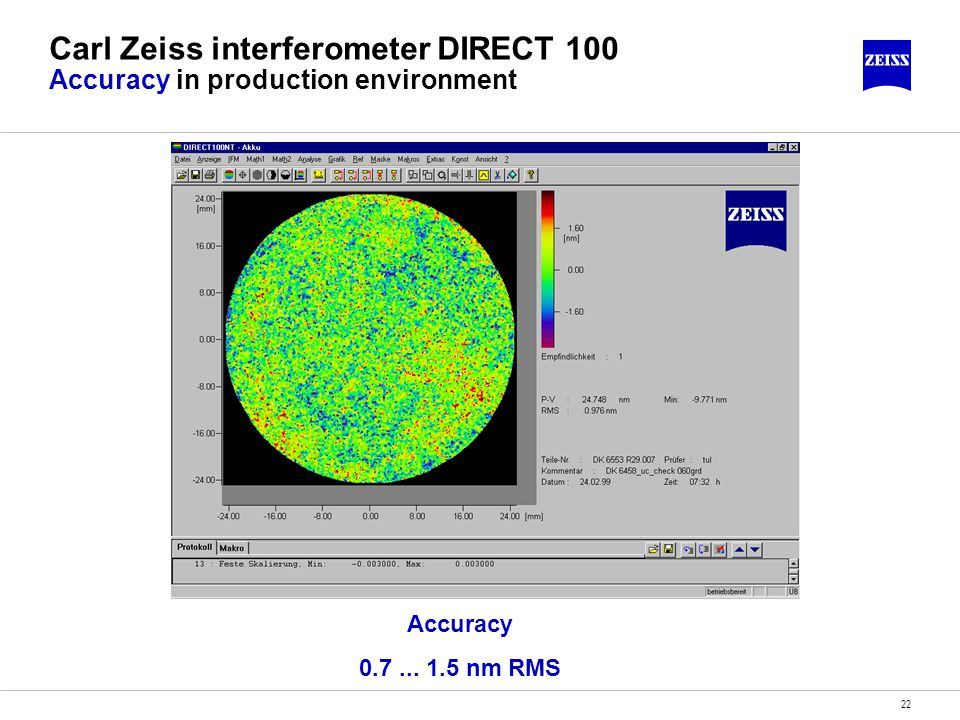22 Carl Zeiss interferometer DIRECT 100 Accuracy in production environment Accuracy 0.7... 1.5 nm RMS