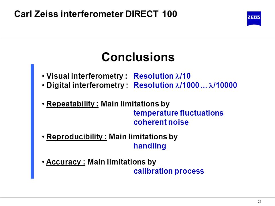 23 Carl Zeiss interferometer DIRECT 100 Conclusions Visual interferometry : Resolution /10 Digital interferometry : Resolution /1000... /10000 Repeata