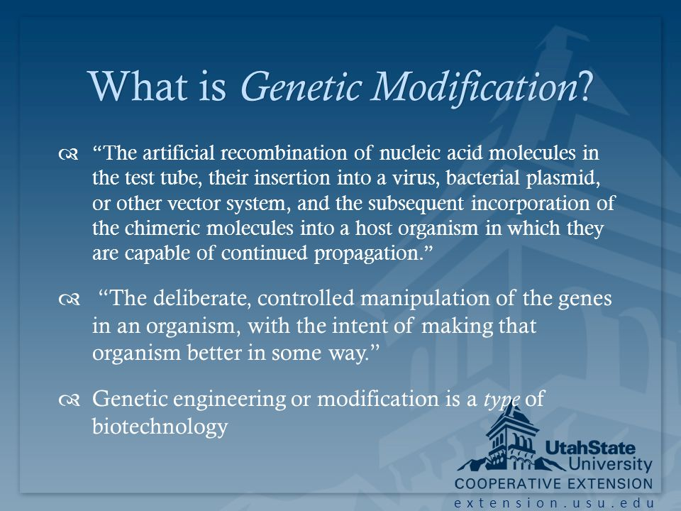 extension.usu.edu Genetic ModificationGenetic Modification We have been genetically modifying plant and animal species for millennia