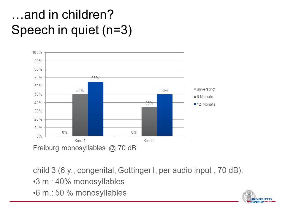 …and in children? Speech in quiet (n=3) Freiburg monosyllables @ 70 dB child 3 (6 y., congenital, Göttinger I, per audio input, 70 dB): 3 m.: 40% mono