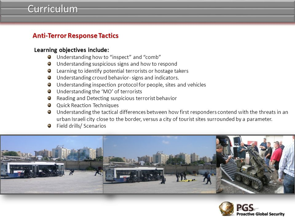 Learning objectives include: Learning objectives include: Understanding how to inspect and comb Understanding suspicious signs and how to respond Learning to identify potential terrorists or hostage takers Understanding crowd behavior- signs and indicators.
