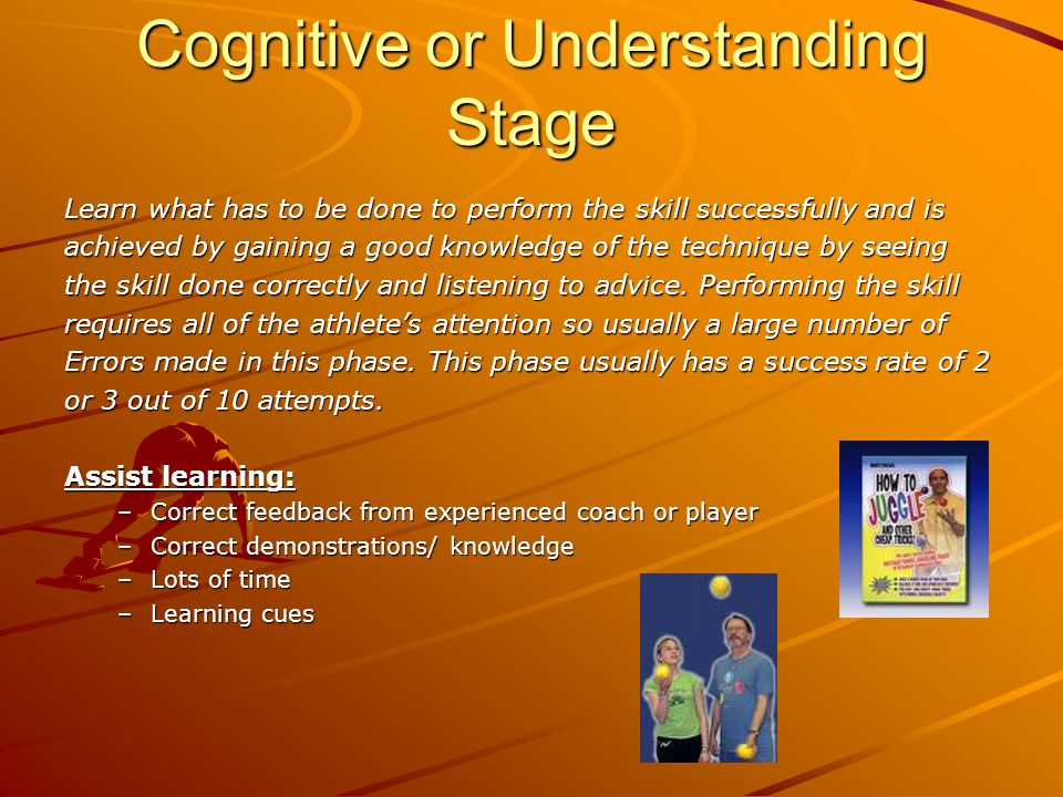 Cognitive or Understanding Stage Learn what has to be done to perform the skill successfully and is achieved by gaining a good knowledge of the technique by seeing the skill done correctly and listening to advice.