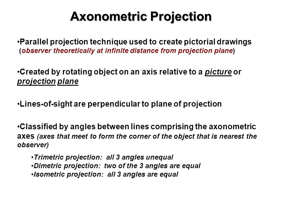 Axonometric Projection Parallel projection technique used to create pictorial drawings (observer theoretically at infinite distance from projection pl