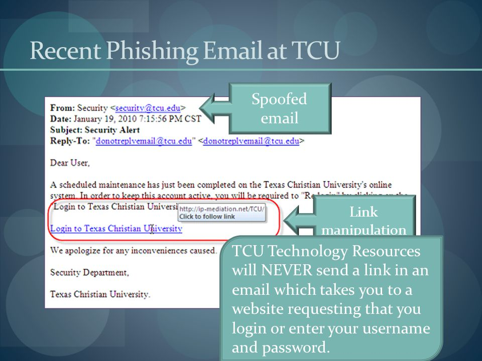 http://ip-mediation.net/TCU/ Fake Website Look between first double // and first single / - thats NOT TCU Notice no https