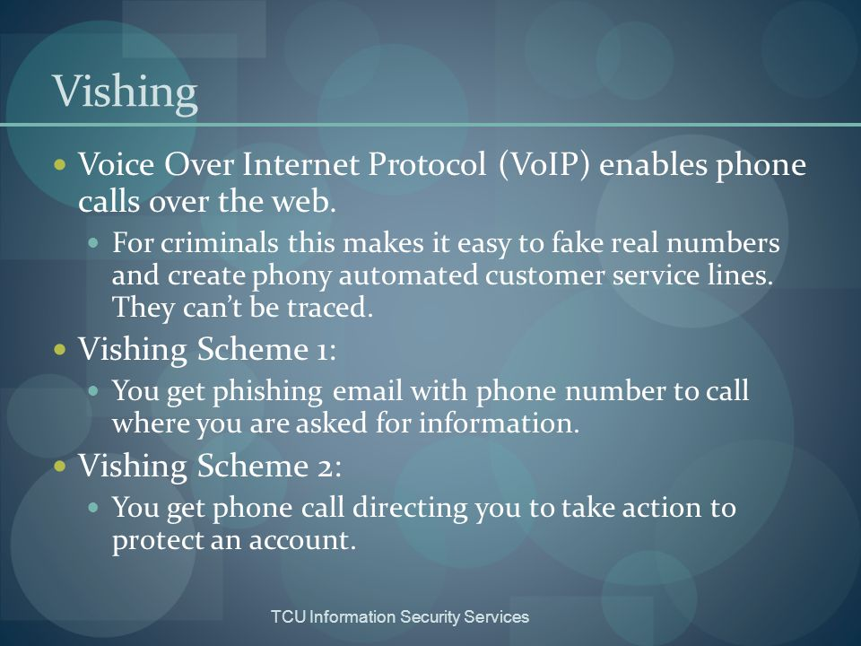 TCU Information Security Services Smishing Phishing fraud sent via SMS (Short Message Service) text messaging.