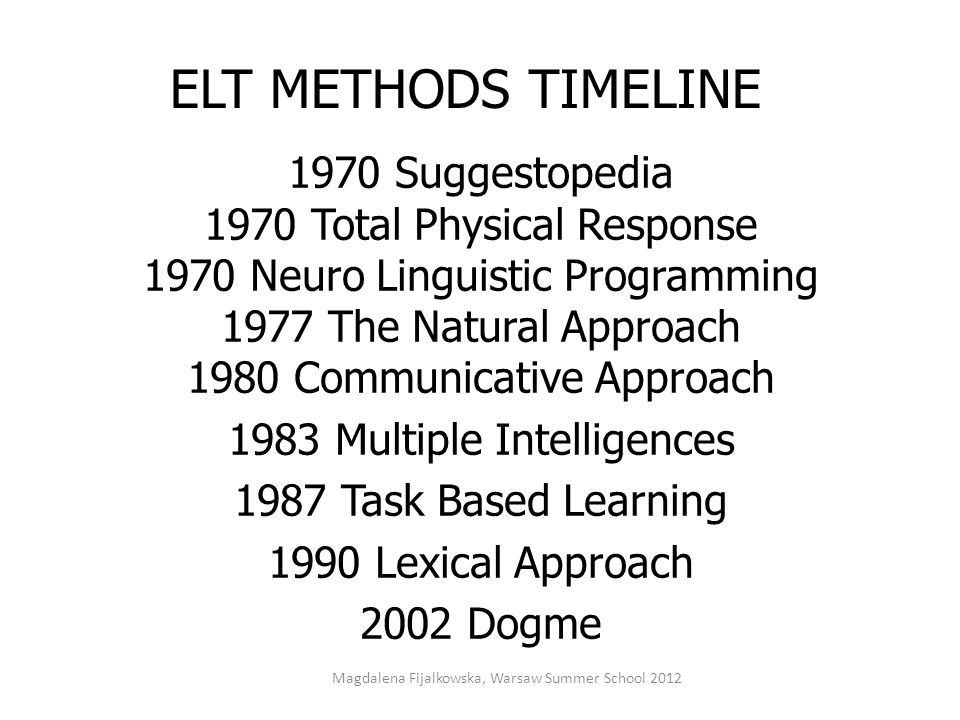 ELT METHODS TIMELINE 1970 Suggestopedia 1970 Total Physical Response 1970 Neuro Linguistic Programming 1977 The Natural Approach 1980 Communicative Ap