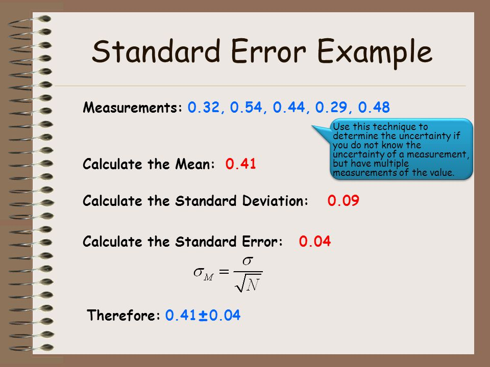 Standard Error Example Measurements: 0.32, 0.54, 0.44, 0.29, 0.48 Calculate the Mean:0.41 Calculate the Standard Deviation:0.09 Calculate the Standard Error:0.04 Therefore: 0.41 ± 0.04 Use this technique to determine the uncertainty if you do not know the uncertainty of a measurement, but have multiple measurements of the value.