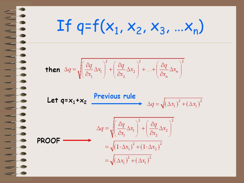If q=f(x 1, x 2, x 3, …x n ) then Let q=x 1 +x 2 Previous rule PROOF