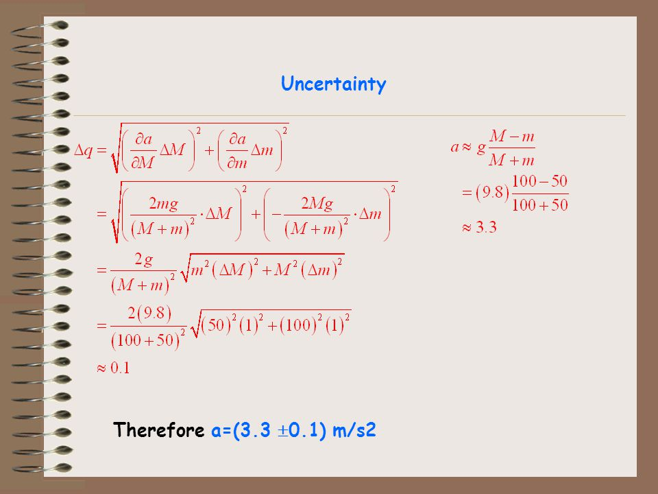 Therefore a=(3.3 0.1) m/s2 Uncertainty