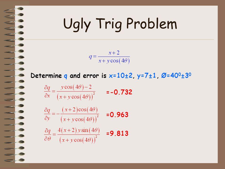 Ugly Trig Problem Determine q and error is x=10±2, y=7±1, Ø=40 0 ±3 0 =-0.732 =0.963 =9.813