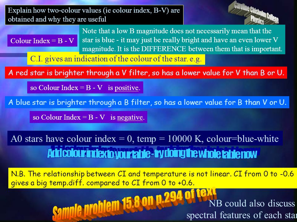 Explain how two-colour values (ie colour index, B-V) are obtained and why they are useful Colour Index = B - V C.I. gives an indication of the colour