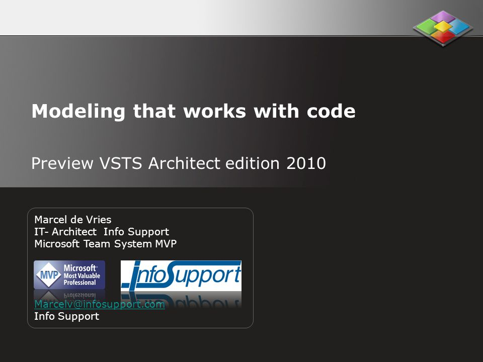 Modeling that works with code Preview VSTS Architect edition 2010 Marcel de Vries IT- Architect Info Support Microsoft Team System MVP Marcelv@infosupport.com Info Support