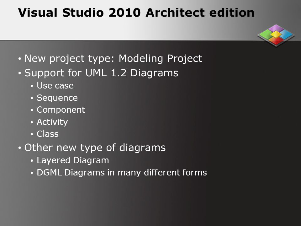 Visual Studio 2010 Architect edition New project type: Modeling Project Support for UML 1.2 Diagrams Use case Sequence Component Activity Class Other new type of diagrams Layered Diagram DGML Diagrams in many different forms