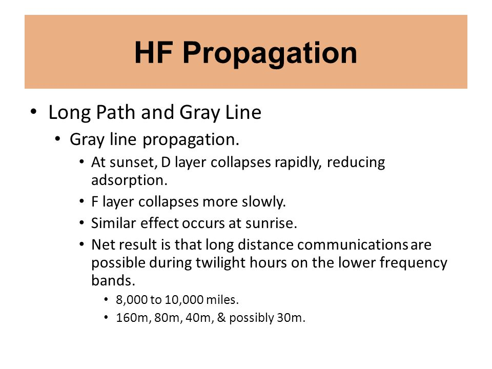 HF Propagation Long Path and Gray Line Gray line propagation. At sunset, D layer collapses rapidly, reducing adsorption. F layer collapses more slowly