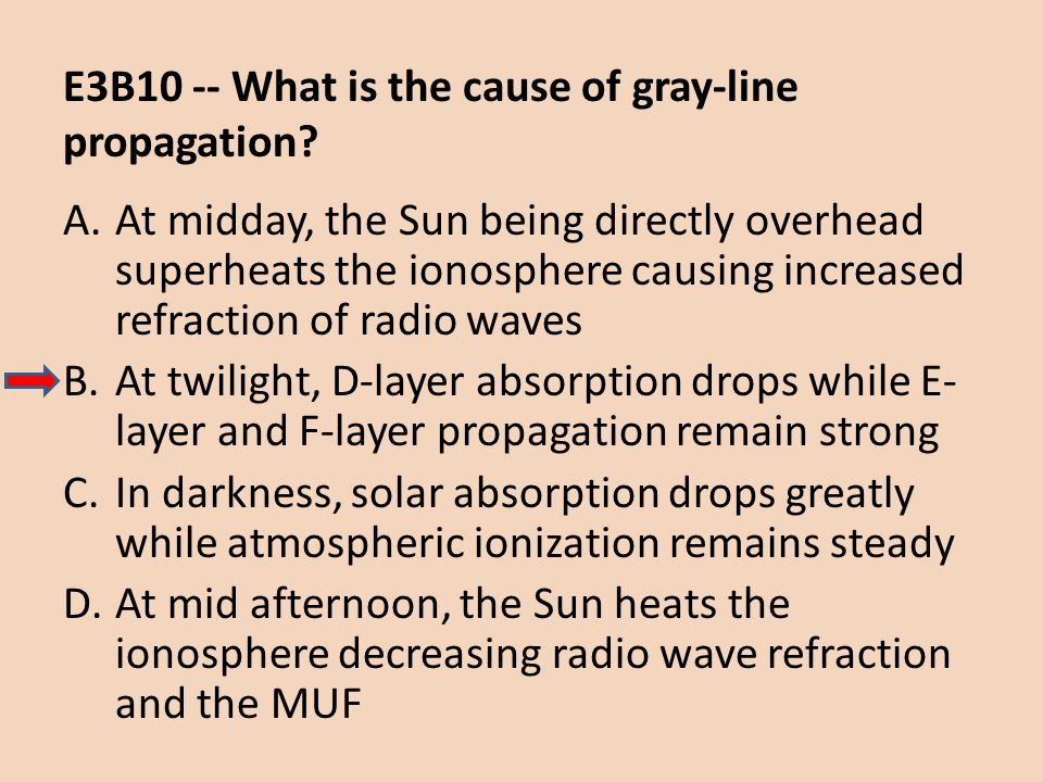 E3B10 -- What is the cause of gray-line propagation? A.At midday, the Sun being directly overhead superheats the ionosphere causing increased refracti