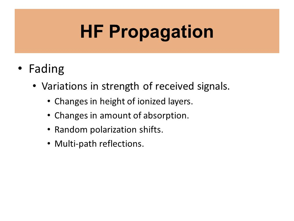 HF Propagation Fading Variations in strength of received signals. Changes in height of ionized layers. Changes in amount of absorption. Random polariz