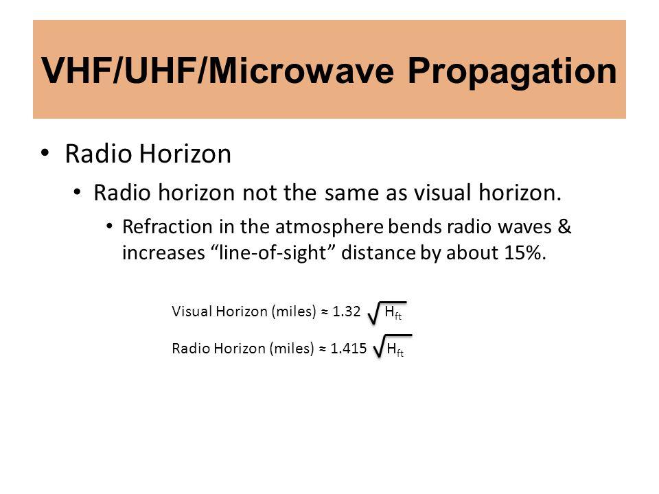 VHF/UHF/Microwave Propagation Radio Horizon Radio horizon not the same as visual horizon. Refraction in the atmosphere bends radio waves & increases l