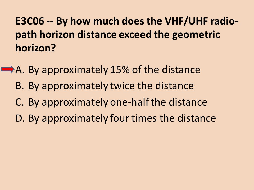 E3C06 -- By how much does the VHF/UHF radio- path horizon distance exceed the geometric horizon? A.By approximately 15% of the distance B.By approxima