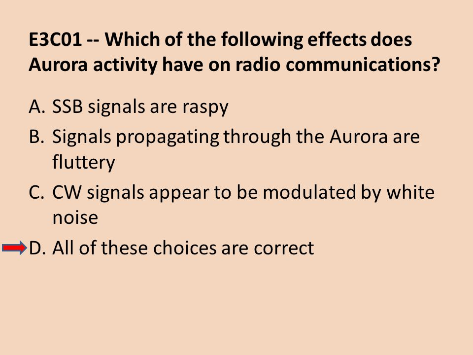 E3C01 -- Which of the following effects does Aurora activity have on radio communications? A.SSB signals are raspy B.Signals propagating through the A