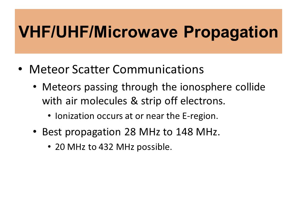 VHF/UHF/Microwave Propagation Meteor Scatter Communications Meteors passing through the ionosphere collide with air molecules & strip off electrons. I