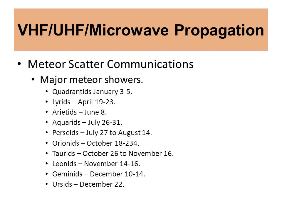 VHF/UHF/Microwave Propagation Meteor Scatter Communications Major meteor showers. Quadrantids January 3-5. Lyrids – April 19-23. Arietids – June 8. Aq