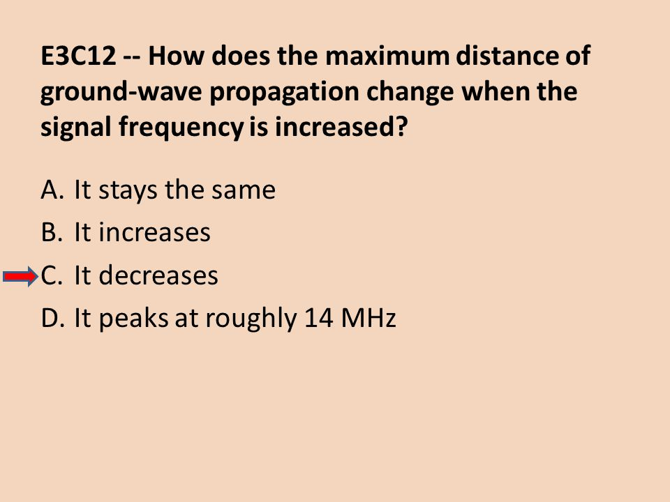 E3C12 -- How does the maximum distance of ground-wave propagation change when the signal frequency is increased? A.It stays the same B.It increases C.