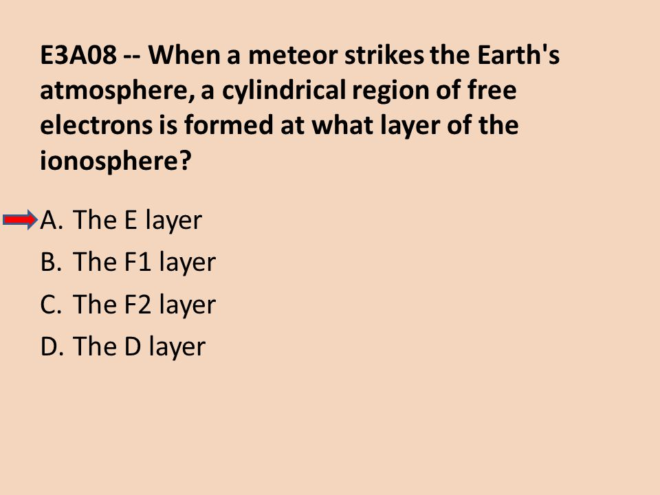 E3A08 -- When a meteor strikes the Earth's atmosphere, a cylindrical region of free electrons is formed at what layer of the ionosphere? A.The E layer