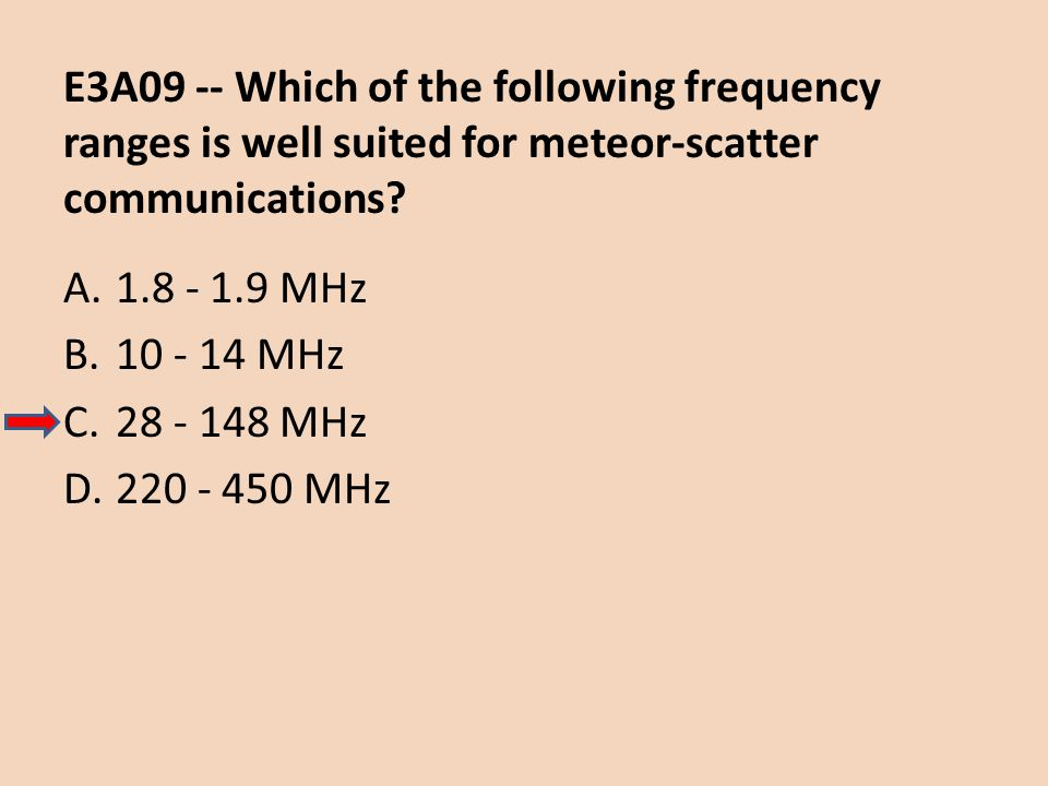 E3A09 -- Which of the following frequency ranges is well suited for meteor-scatter communications? A.1.8 - 1.9 MHz B.10 - 14 MHz C.28 - 148 MHz D.220