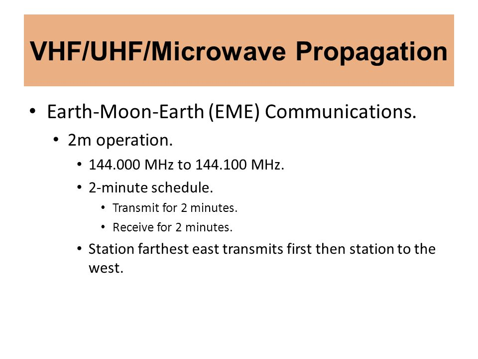 VHF/UHF/Microwave Propagation Earth-Moon-Earth (EME) Communications. 2m operation. 144.000 MHz to 144.100 MHz. 2-minute schedule. Transmit for 2 minut