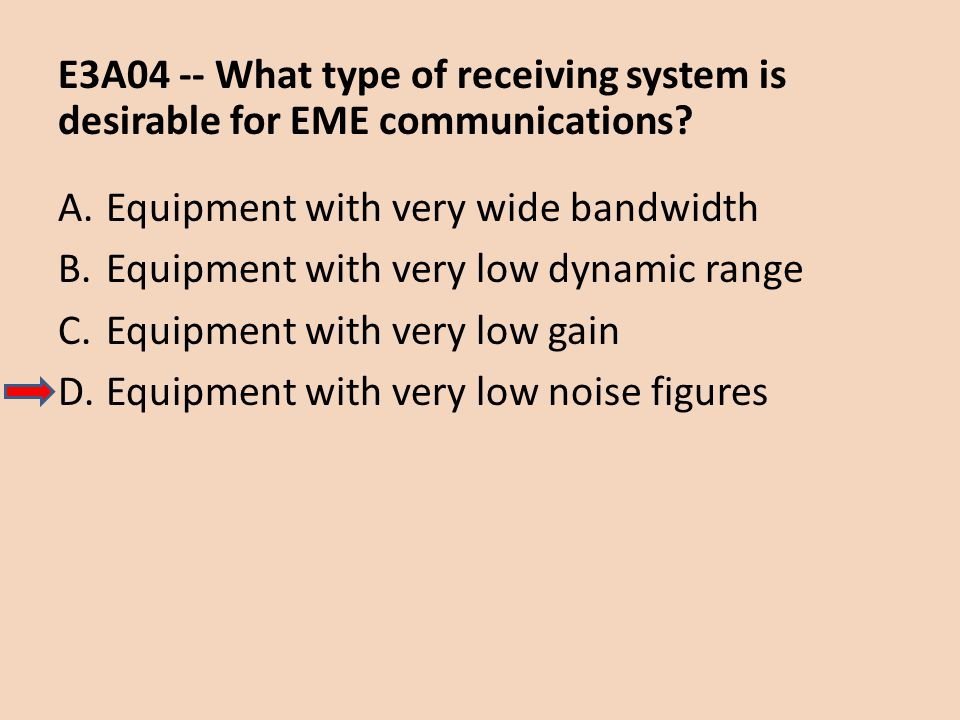 E3A04 -- What type of receiving system is desirable for EME communications? A.Equipment with very wide bandwidth B.Equipment with very low dynamic ran