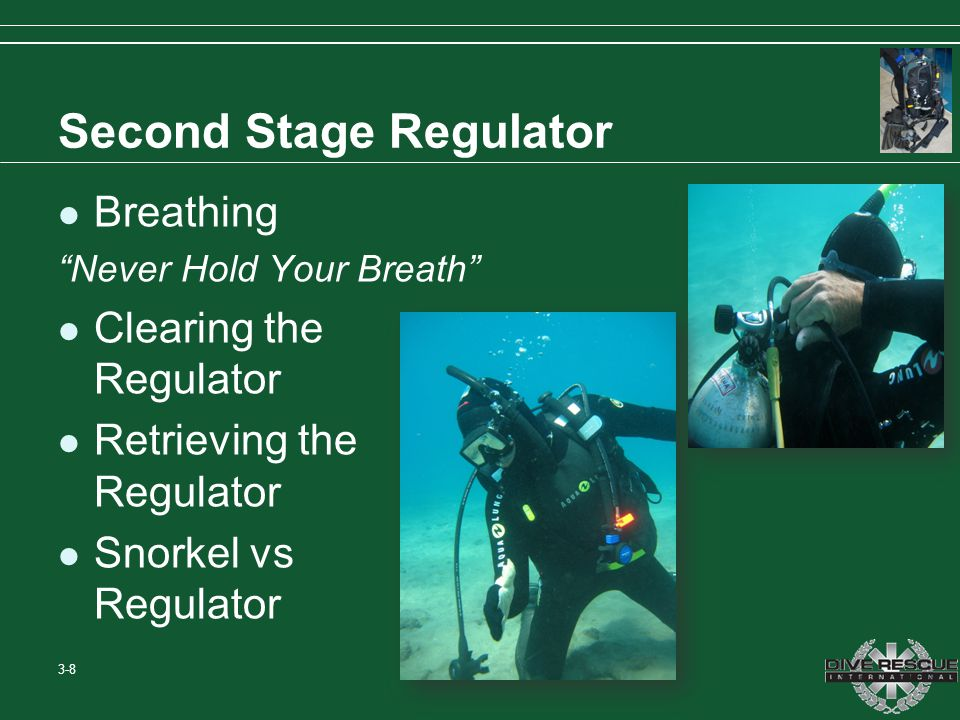 Second Stage Regulator Breathing Never Hold Your Breath Clearing the Regulator Retrieving the Regulator Snorkel vs Regulator 3-8