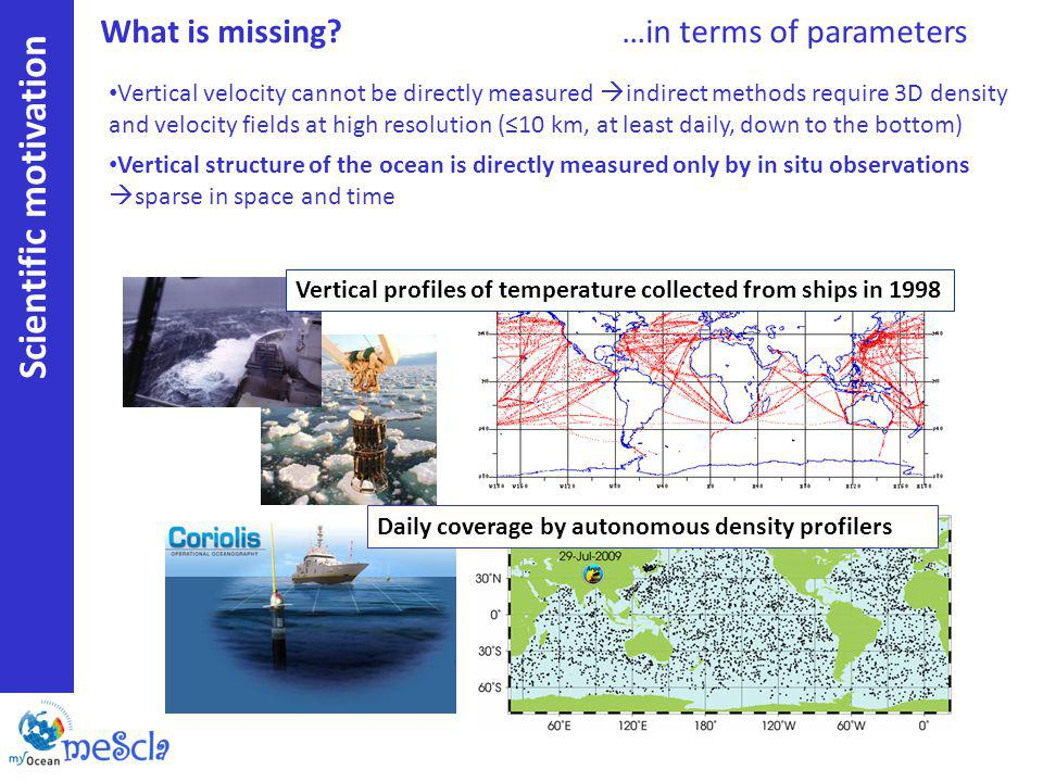 Scientific motivation Vertical velocity cannot be directly measured indirect methods require 3D density and velocity fields at high resolution (10 km, at least daily, down to the bottom) Vertical structure of the ocean is directly measured only by in situ observations sparse in space and time Vertical profiles of temperature collected from ships in 1998 Daily coverage by autonomous density profilers What is missing?…in terms of parameters
