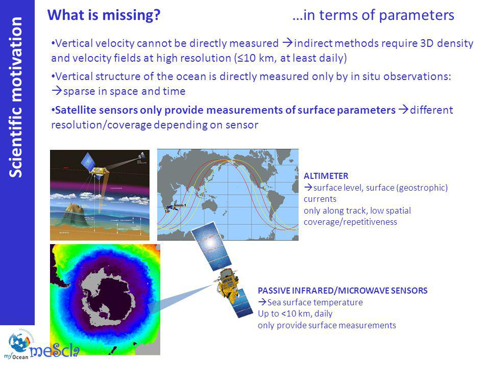 Scientific motivation Vertical velocity cannot be directly measured indirect methods require 3D density and velocity fields at high resolution (10 km, at least daily) Vertical structure of the ocean is directly measured only by in situ observations: sparse in space and time Satellite sensors only provide measurements of surface parameters different resolution/coverage depending on sensor ALTIMETER surface level, surface (geostrophic) currents only along track, low spatial coverage/repetitiveness PASSIVE INFRARED/MICROWAVE SENSORS Sea surface temperature Up to <10 km, daily only provide surface measurements What is missing?…in terms of parameters