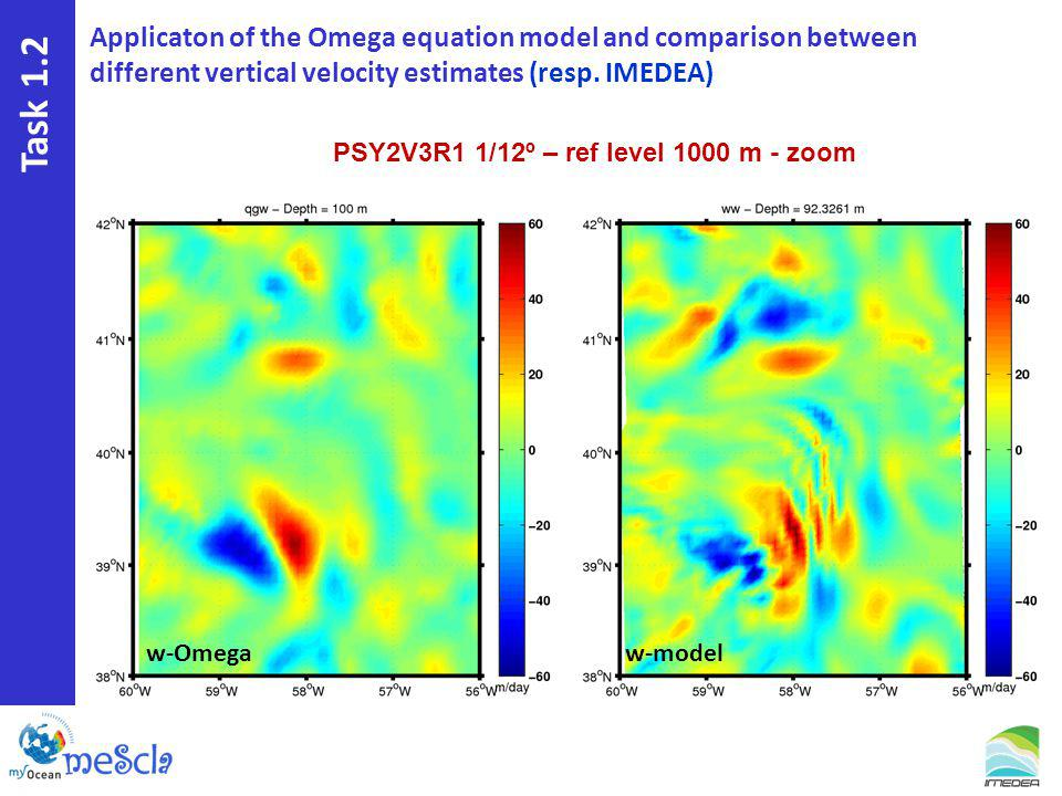 Task 1.2 PSY2V3R1 1/12º – ref level 1000 m - zoom Applicaton of the Omega equation model and comparison between different vertical velocity estimates (resp.